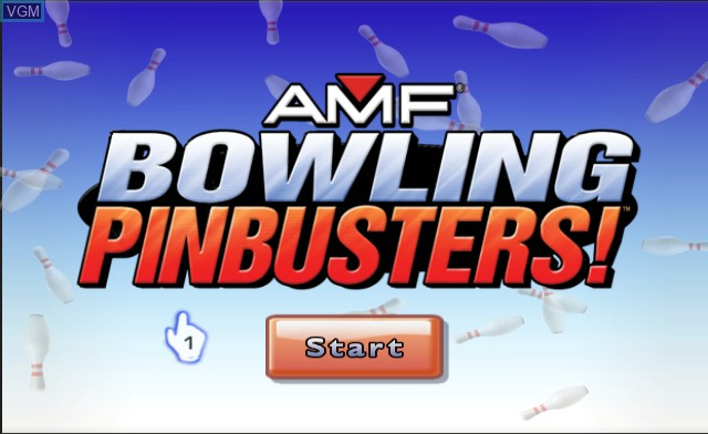 Title screen of the game AMF Bowling Pinbusters! on Nintendo Wii