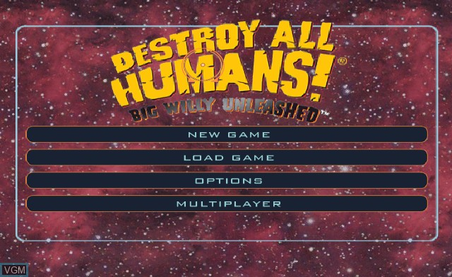 Title screen of the game Destroy All Humans! Big Willy Unleashed on Nintendo Wii