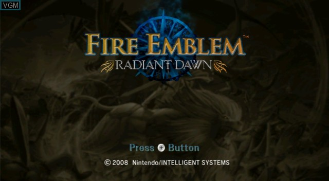 Title screen of the game Fire Emblem - Radiant Dawn on Nintendo Wii