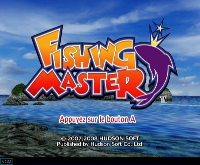 Title screen of the game Fishing Master on Nintendo Wii