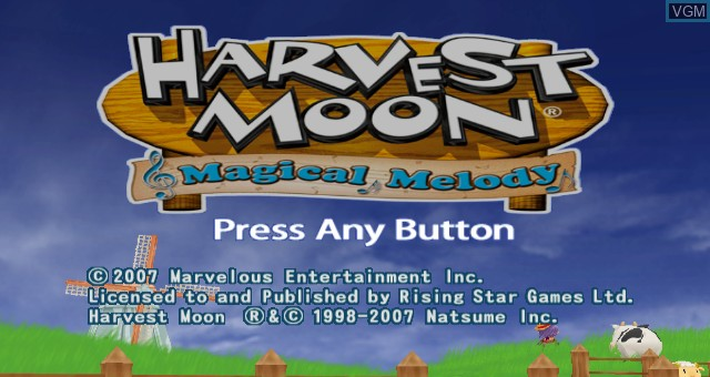 Title screen of the game Harvest Moon - Magical Melody on Nintendo Wii