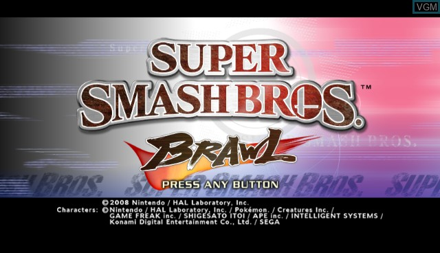 Title screen of the game Super Smash Bros. Brawl on Nintendo Wii