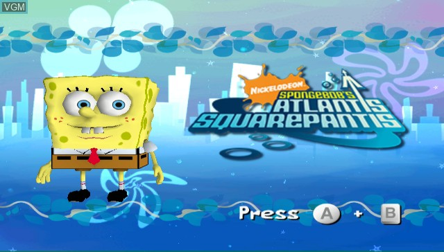 Title screen of the game SpongeBob's Atlantis SquarePantis on Nintendo Wii