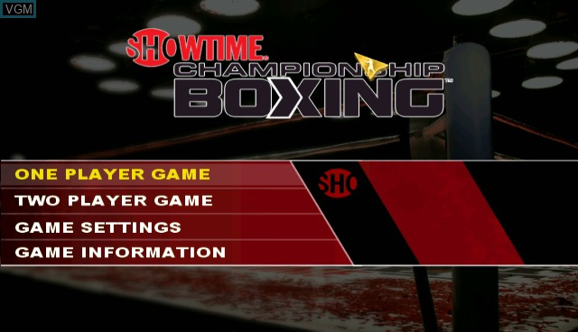 Title screen of the game Showtime Championship Boxing on Nintendo Wii
