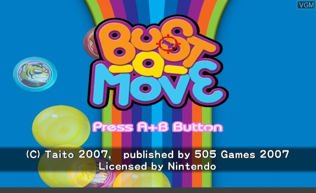 Title screen of the game Bust-A-Move on Nintendo Wii