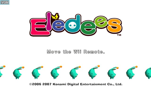 Title screen of the game Eledees on Nintendo Wii