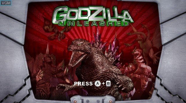 Title screen of the game Godzilla Unleashed on Nintendo Wii