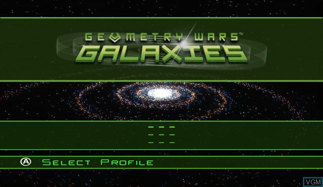 Title screen of the game Geometry Wars - Galaxies on Nintendo Wii