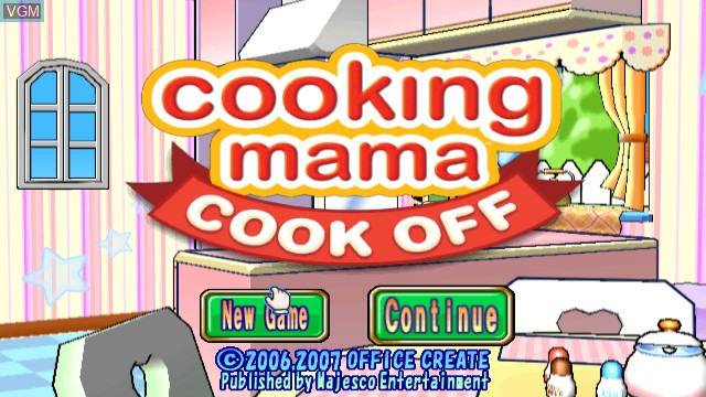 Title screen of the game Cooking Mama - Cook Off on Nintendo Wii
