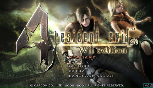 Title screen of the game Resident Evil 4 - Wii Edition on Nintendo Wii