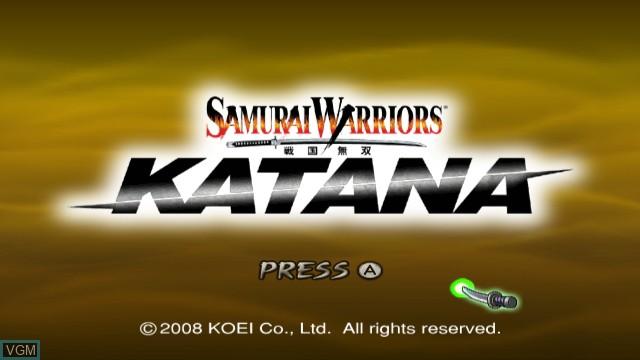 Title screen of the game Samurai Warriors - Katana on Nintendo Wii
