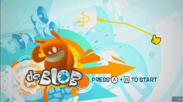 Title screen of the game de Blob on Nintendo Wii