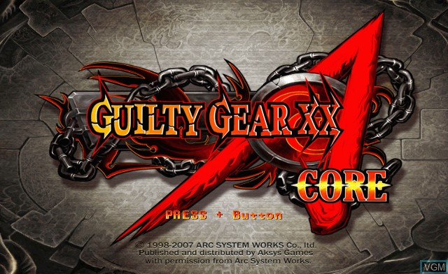 Title screen of the game Guilty Gear XX Accent Core on Nintendo Wii