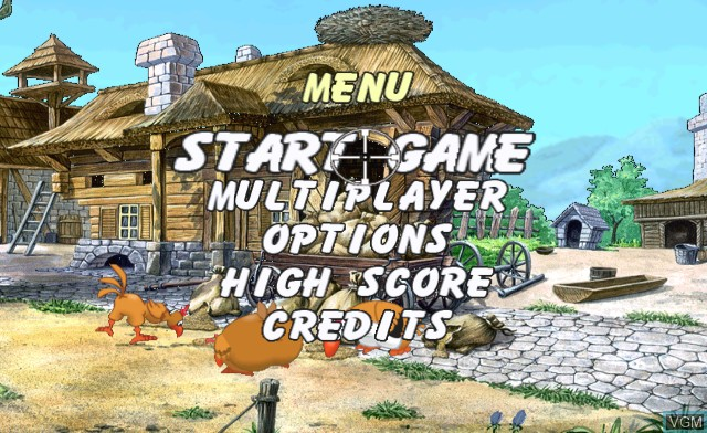 Title screen of the game Chicken Shoot on Nintendo Wii