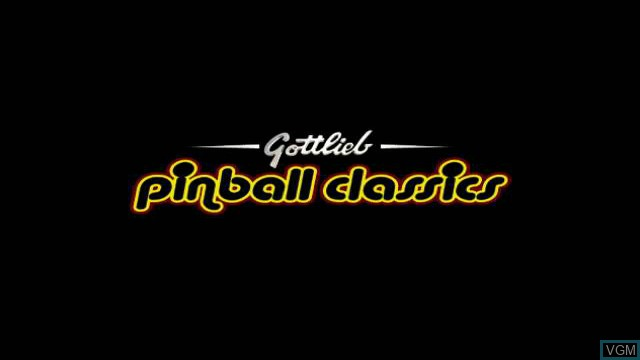 Title screen of the game Gottlieb Pinball Classics on Nintendo Wii