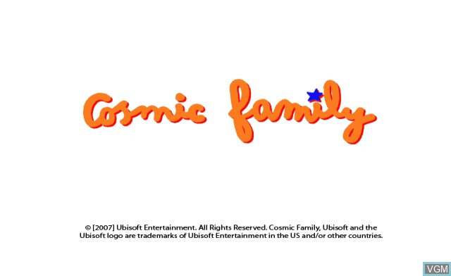 Title screen of the game Cosmic Family on Nintendo Wii