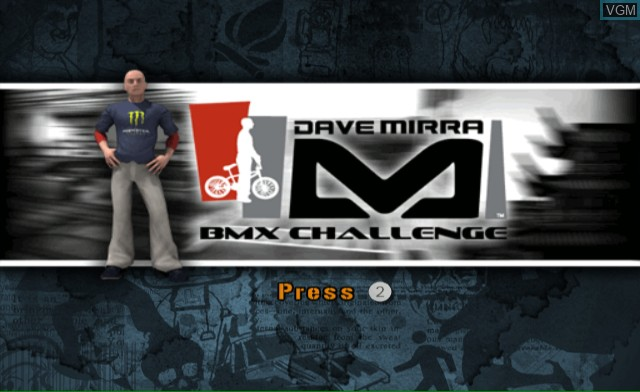 Title screen of the game Dave Mirra BMX Challenge on Nintendo Wii