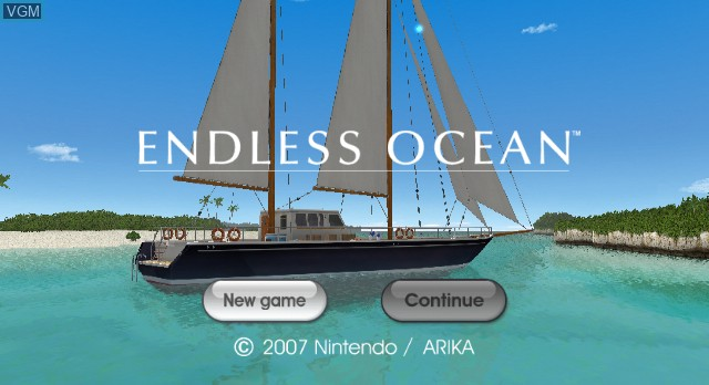 Title screen of the game Endless Ocean on Nintendo Wii