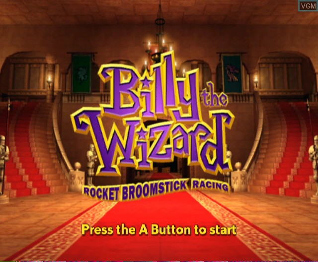 Title screen of the game Billy the Wizard - Rocket Broomstick Racing on Nintendo Wii