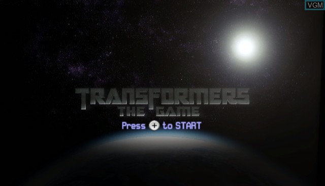 Title screen of the game Transformers - The Game on Nintendo Wii
