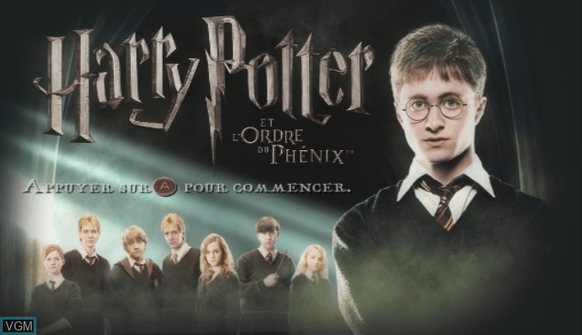 Title screen of the game Harry Potter and the Order of the Phoenix on Nintendo Wii