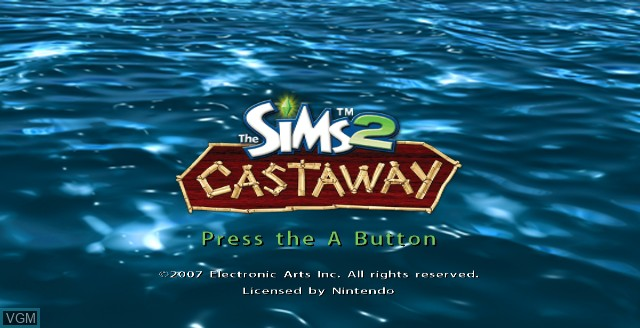 Title screen of the game Sims 2, The - Castaway on Nintendo Wii