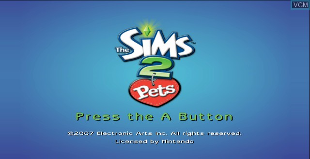 Title screen of the game Sims 2, The - Pets on Nintendo Wii