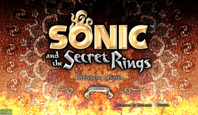 Title screen of the game Sonic and the Secret Rings on Nintendo Wii