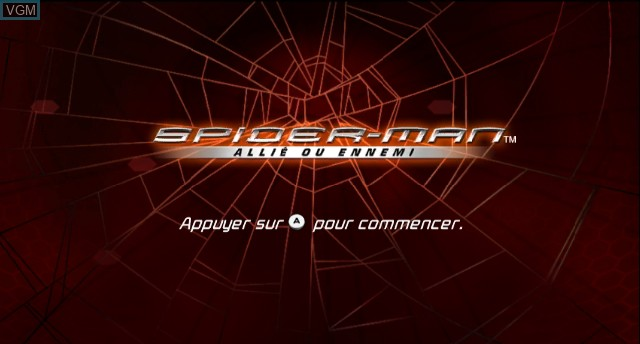Title screen of the game Spider-Man - Friend or Foe on Nintendo Wii
