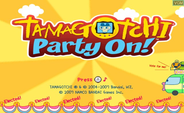 Title screen of the game Tamagotchi Party On! on Nintendo Wii