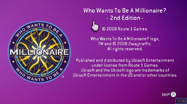 Title screen of the game Who Wants to Be A Millionaire 2nd Edition on Nintendo Wii