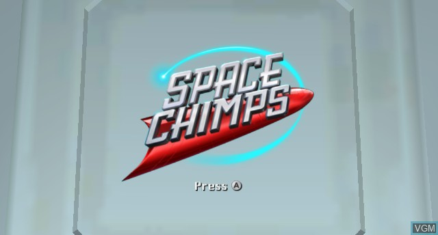 Title screen of the game Space Chimps on Nintendo Wii