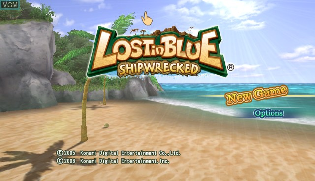 Title screen of the game Lost in Blue - Shipwrecked on Nintendo Wii