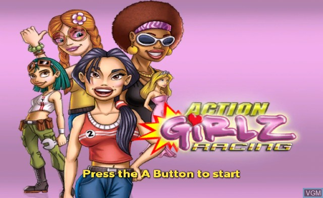 Title screen of the game Action Girlz Racing on Nintendo Wii