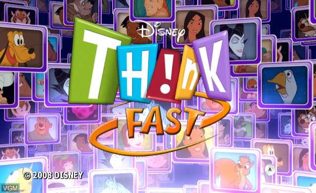 Title screen of the game Disney TH!NK Fast on Nintendo Wii