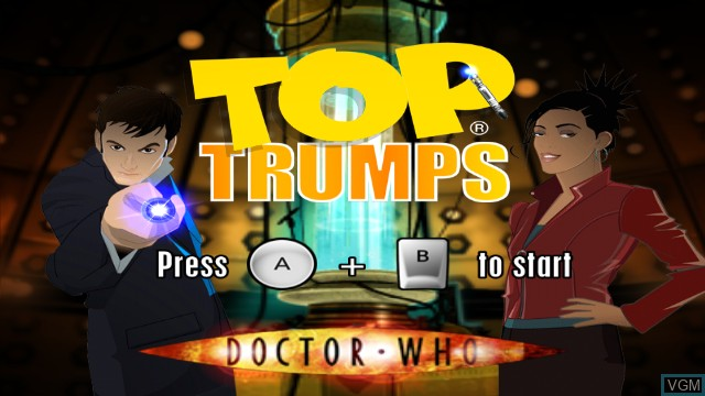 Title screen of the game Top Trumps - Dr. Who on Nintendo Wii