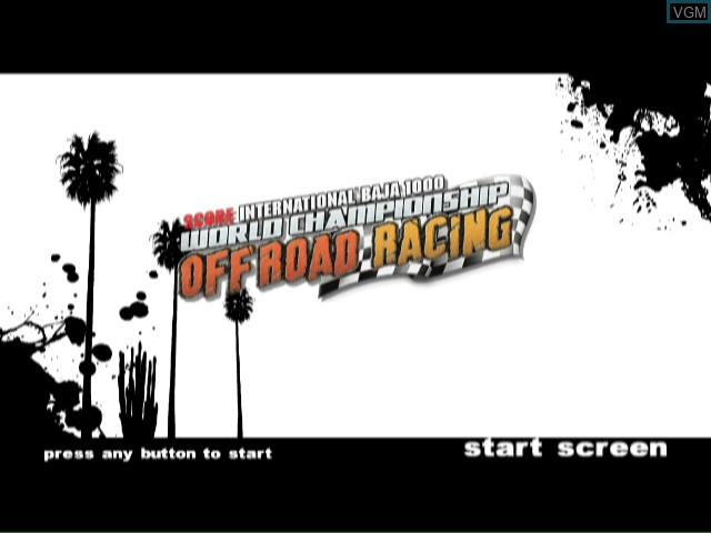 Title screen of the game SCORE International Baja 1000 - World Championship Off Road Racing on Nintendo Wii