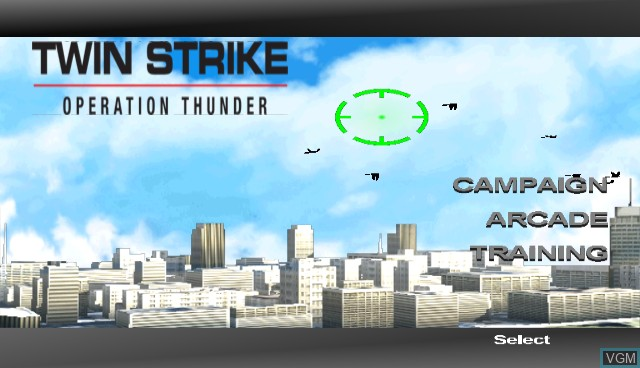Title screen of the game Twin Strike - Operation Thunder on Nintendo Wii