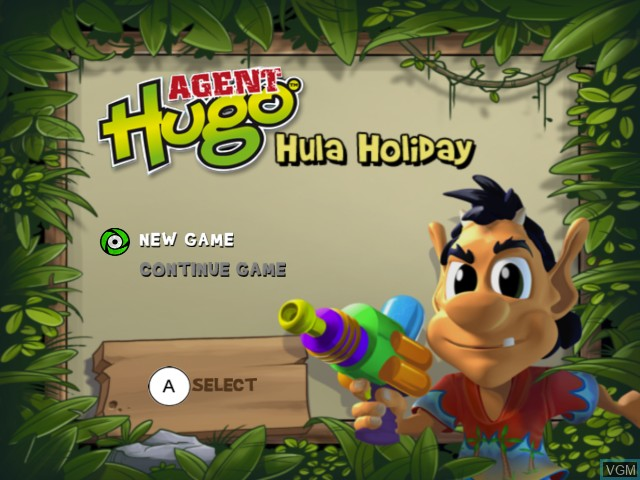 Title screen of the game Agent Hugo - Hula Holiday on Nintendo Wii