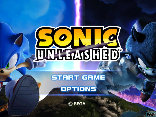 Title screen of the game Sonic Unleashed on Nintendo Wii