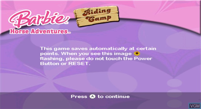 Title screen of the game Barbie Horse Adventures - Riding Camp on Nintendo Wii