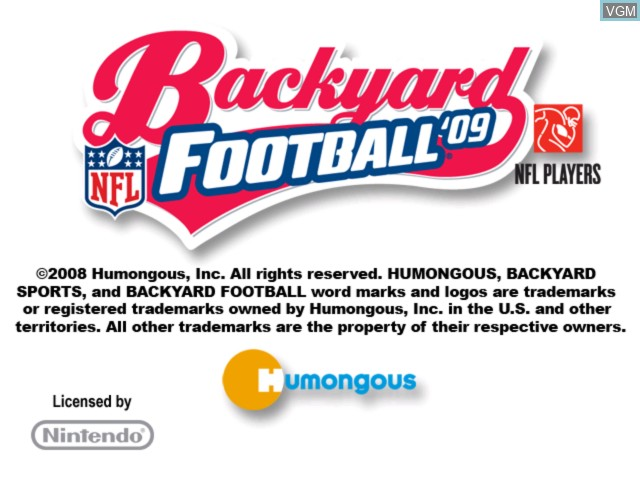 Title screen of the game Backyard Football '09 on Nintendo Wii