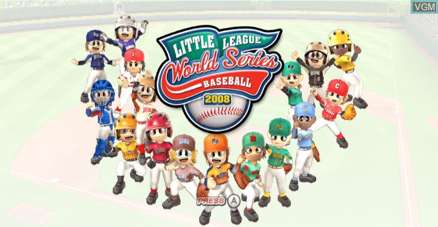 Title screen of the game Little League World Series Baseball 2008 on Nintendo Wii