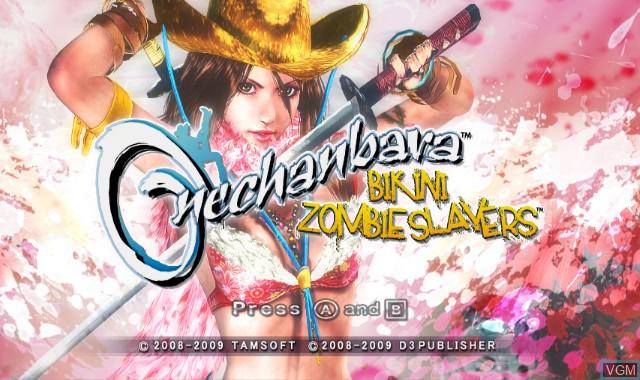 Title screen of the game Onechanbara - Bikini Zombie Slayers on Nintendo Wii