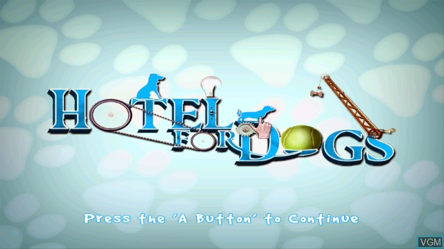 Title screen of the game Hotel for Dogs on Nintendo Wii