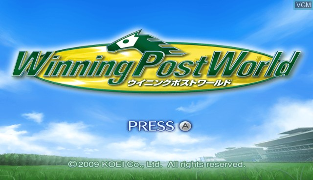 Title screen of the game Winning Post World on Nintendo Wii