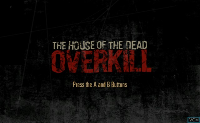 Title screen of the game House of the Dead - Overkill on Nintendo Wii