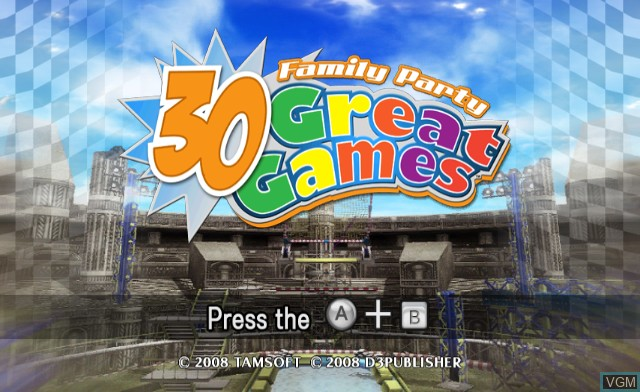 Title screen of the game 30 Great Games on Nintendo Wii