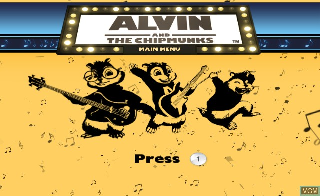 Title screen of the game Alvin & the Chipmunks on Nintendo Wii