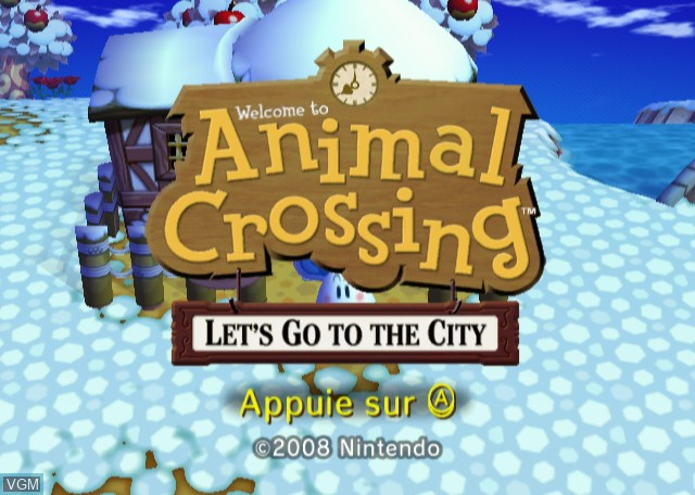 Title screen of the game Animal Crossing - City Folk on Nintendo Wii